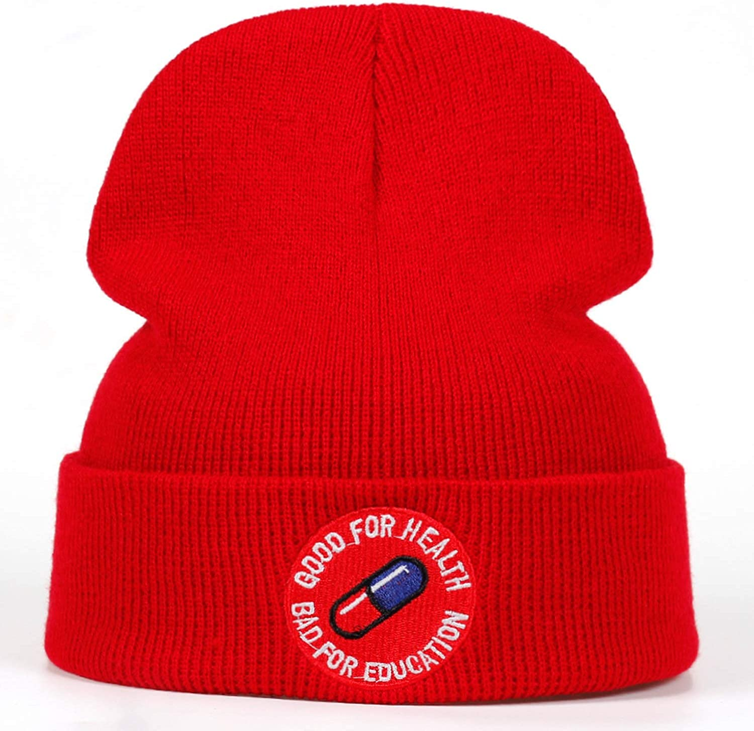 Moktasp Bad for Education Good for Health Casual Beanies Knitted Spring Summer Hat Hip-hop Skullies Hat