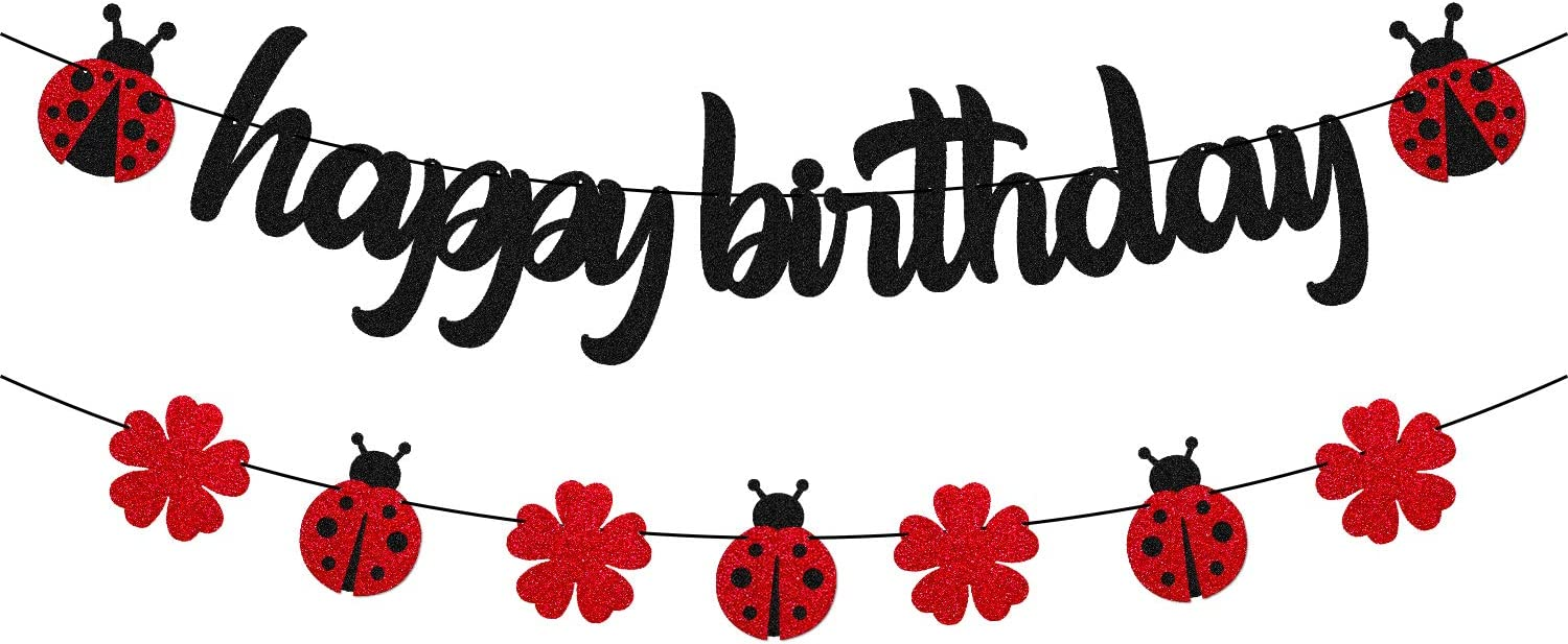 Ladybug Birthday Party Decorations Ladybird Happy Birthday Banner for Ladybeetle Themed Little Girl Kids 1st 2nd First One Year Old Baby Shower Bday Party Supplies Black Décor