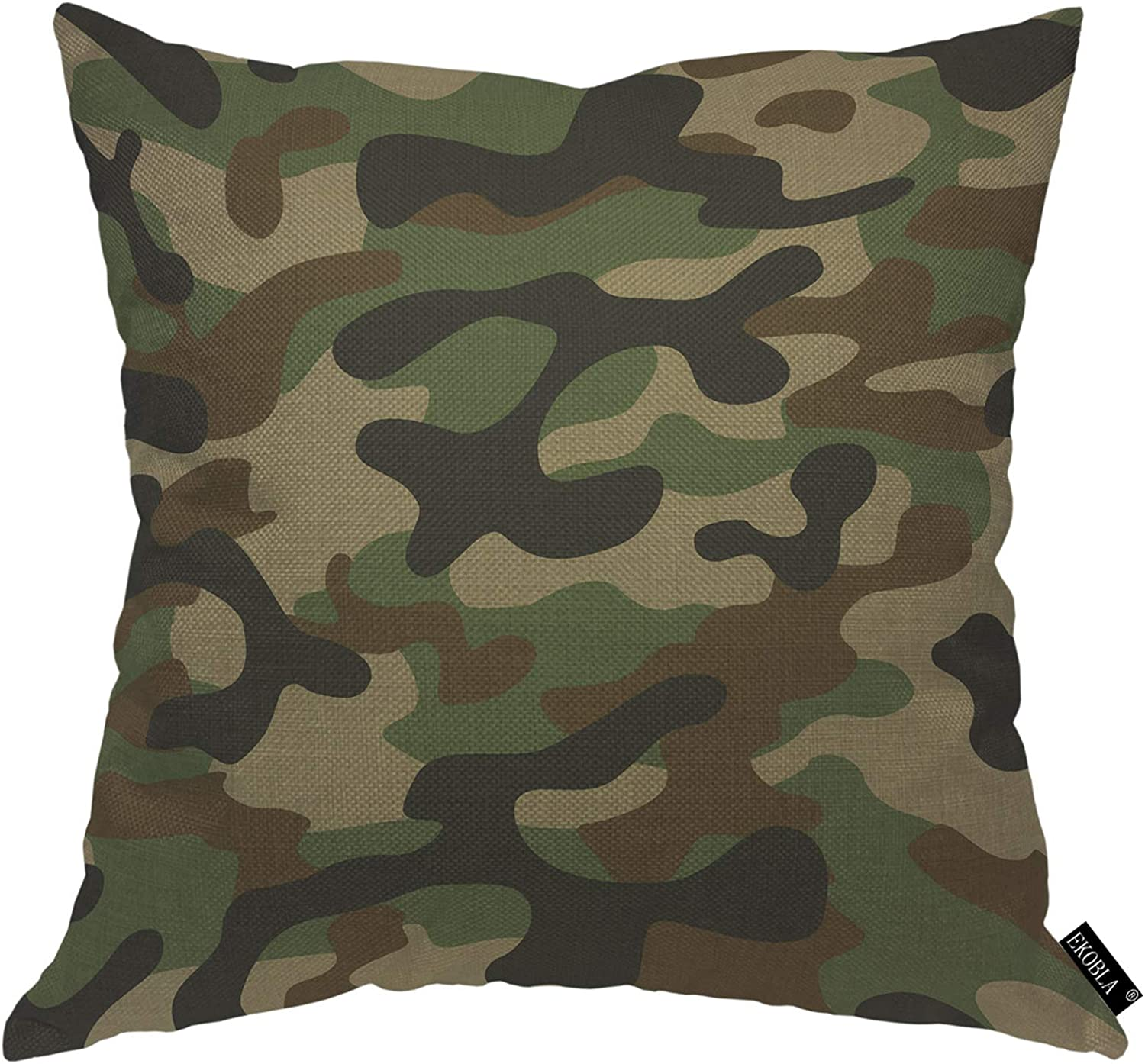 EKOBLA Camouflage Throw Pillow Cover Military Army Green Hunting Solider Combat Forest Woodland Cozy Square Cushion Case for Men Women Boys Girls Room Home Decor Cotton Linen 18x18 Inch