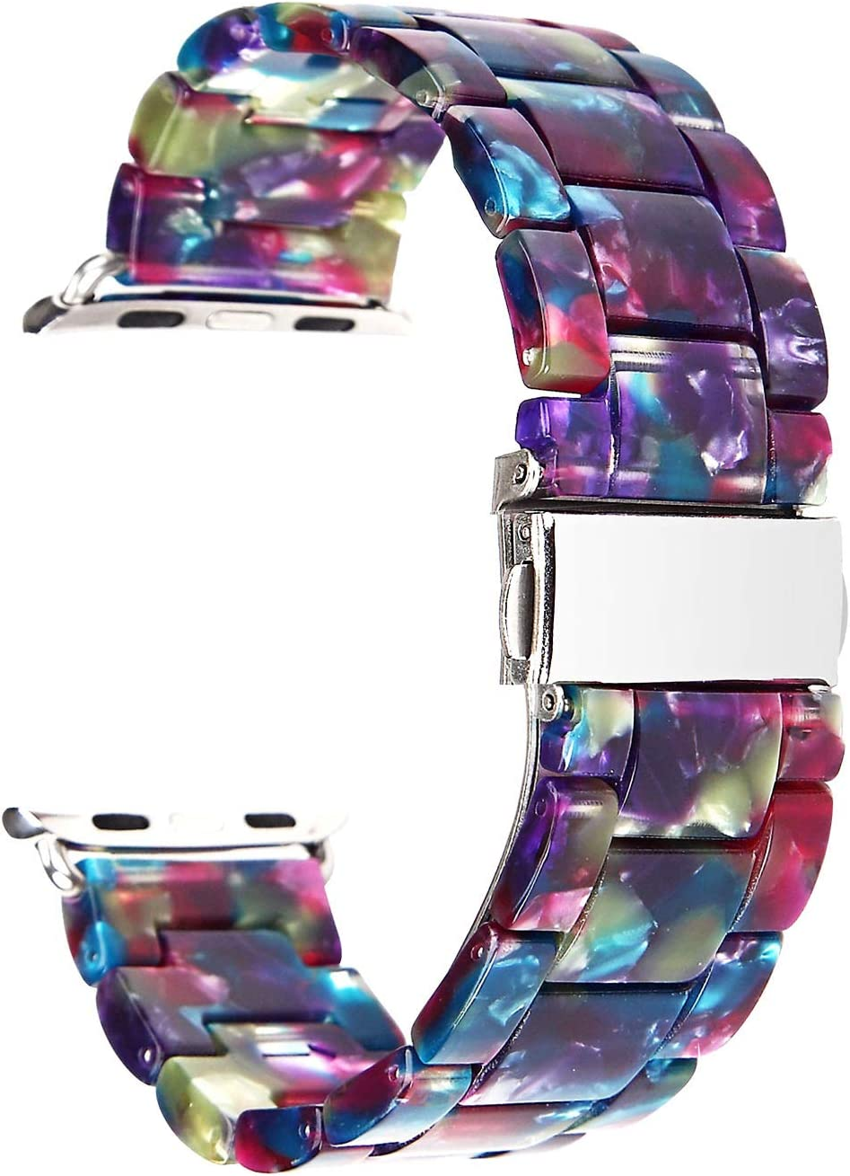 Compatible for Apple Watch Band 38mm 40mm, Women Colorful Resin Sport Band Replacement Strap Compatible for iWatch Apple Watch Series 5 4 3 2 1 (Band for Apple Watch 38mm 40mm)