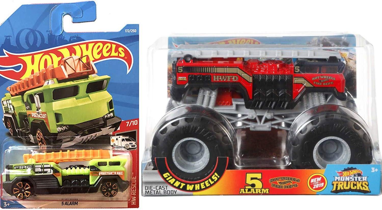 Amazon Com Hot Wheels Red Fire 2 Big Action 2019 5 Alarm Ladder Firetruck Monster Engine 1 24 Scale Green Five Alarm Mini Version Hw Rescue 2 Items Jam Bundle Toys Games
