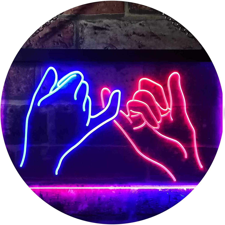 ADV PRO Pinky Swear Promise Dual Color LED Barlicht Neonlicht Lichtwerbung Neon Sign Blau /& Gelb 300 x 210mm st6s32-i3260-by