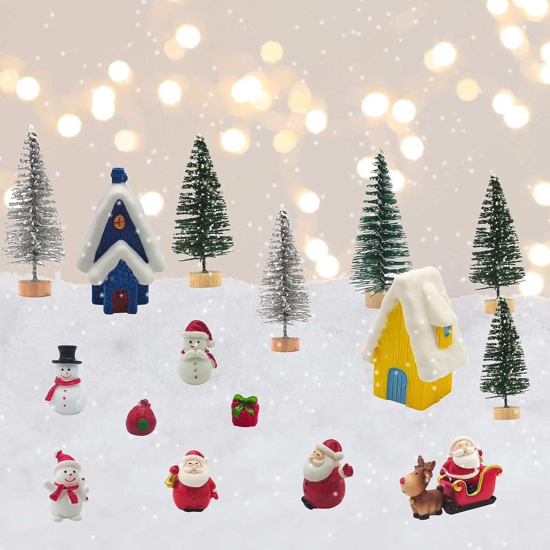 Babbo Natale Alce Slitta Auto DIY Craft Micro Landscape Ornament Decor Mini Fairy Garden Miniature Decor ECHOAN 27 Pezzi Christmas Micro Landscape OrnamentiKit Alberi di Natale