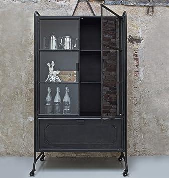 Schrank Industrial milanari metall vitrine schrank industrial style hardo schwarz 105