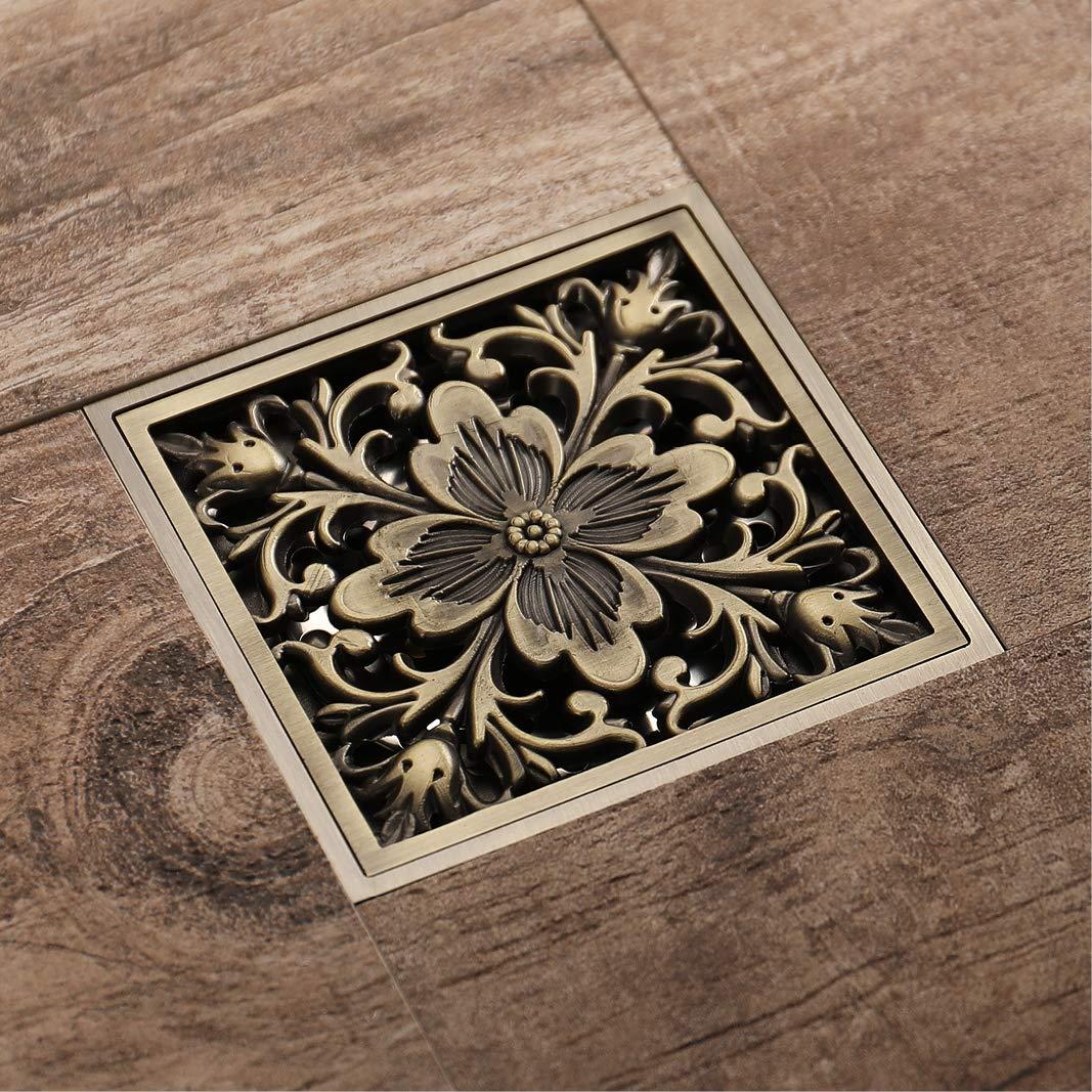 scolapiatti dottone del pavimento della piastrella per il bagno con la copertura di griglia della griglia smontabile Scarico a pavimento quadrato dellacquazzone della doccia di 4 pollici