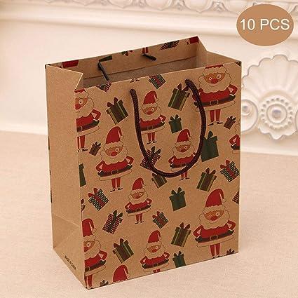 10 Pcs Bolsa de papel Kraft, Bolsa de regalo de navidad, Bolsa mediana, Bolsa de navidad, Bolsa de navidad, Bolsa de ropa, ecológica, Marrón, Adecuado para fiestas, celebraciones 26x10x32cm,A: Amazon.es: Oficina y