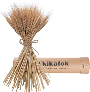 kikafok hegufeng 100 Stems Dried Wheat Stalks, Golden Natural Dried Wheat Sheaves Fall Arrangement Wheat Bouquet Bundle Flower for DIY Home Table Wedding Xmas Decor (16in)