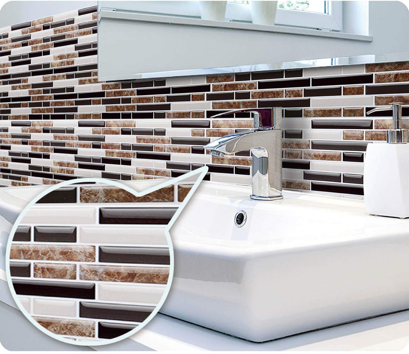 "Peel and Stick Backsplash,HONJAN Renters Groutless Removable Adhesive Vinyl Muretto Brina Backsplash Tiles for Kitchen Bathroom 10""x10"" Pack of 13 (A) by HONJAN (Image #6)"