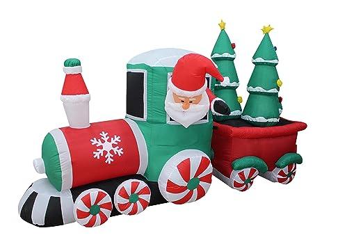 8 pie hinchable de Papá Noel tren motriz en largo Candy ruedas ...