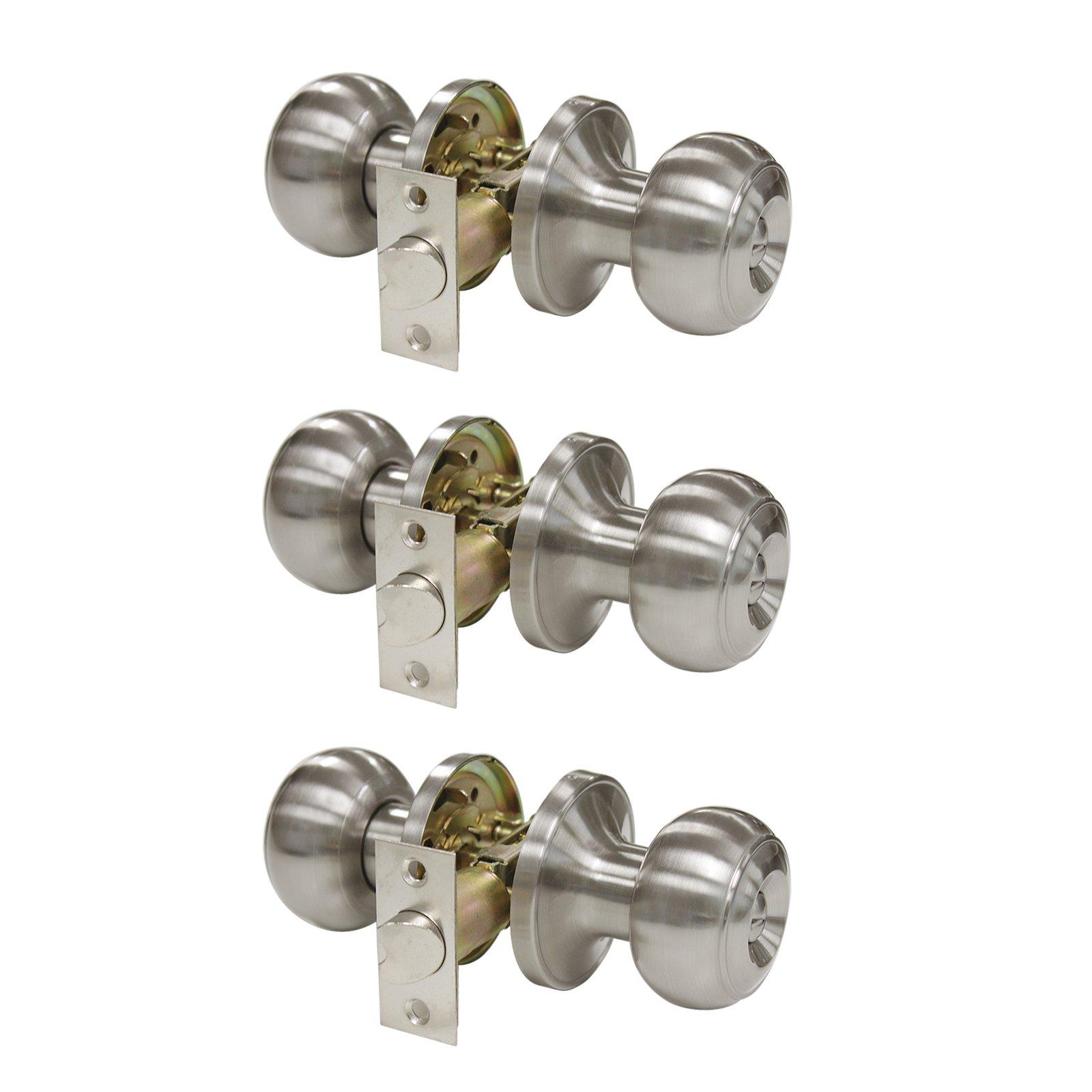 3 Pack Probrico Privacy Door Lock Storage Room Bathroom Keyless Door Knobs with lock no keys Lockset Round Knob set Brushed Satin Nickel-Privacy Keyless Knob-609