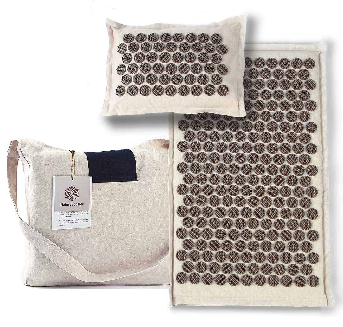 NatureBooster Deeper Stimulation Natural Material Acupressure Mat Set for Back Pain and Sciatica Relief (Bronze) (Bronze-mild)