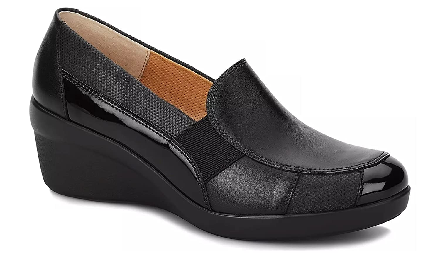 Andrea Shoes Comfort Women's Genuine Textured Leather Mid Wedge B077J98YXB 10 B(M) US|Black