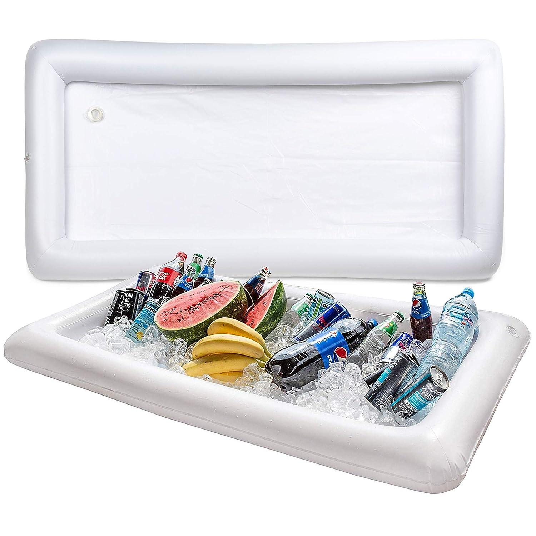 BRAMBLE! Set de 2 Barra de Servicio Flotante - Bandeja hinchable para bebidas para servir y ensalada, hielo, enfriador de alimentos, bandeja para ...