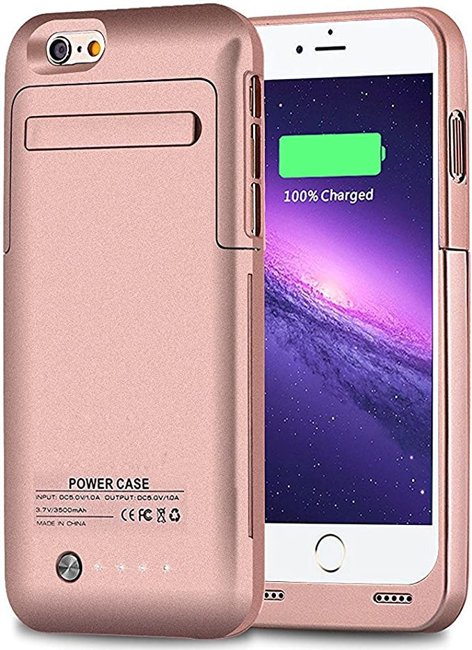 Muze iPhone 6 Ultra Slim Battery Case Rose Gold Rechargeable 3500mah Backup Battery Case Cover Portable Charging Power Case for iPhone 6 (2014)