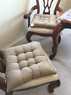 Large Size Set Of 4 Peat / Taupe Soft Micro Suede Fully Quilted Dining  Chair Cushion