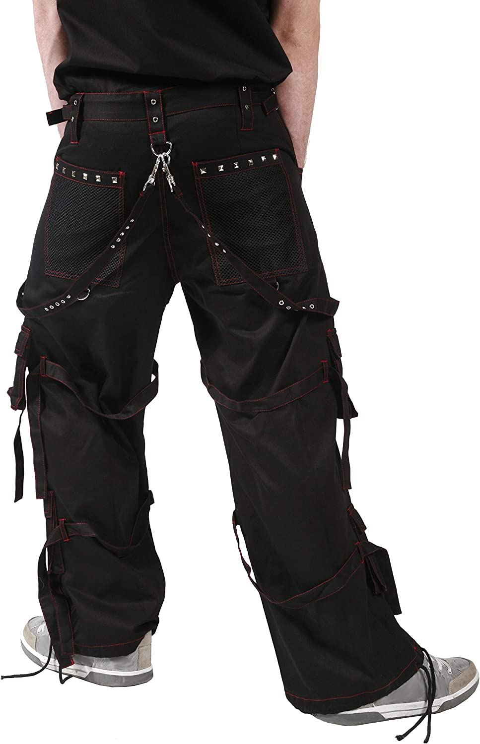 Dead Threads - Black Men's Trouser with Red Stitching Red