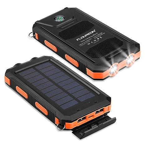 FLOUREON Solar Ladegerät Powerbank 10000mAh externes Akku Batterie ...
