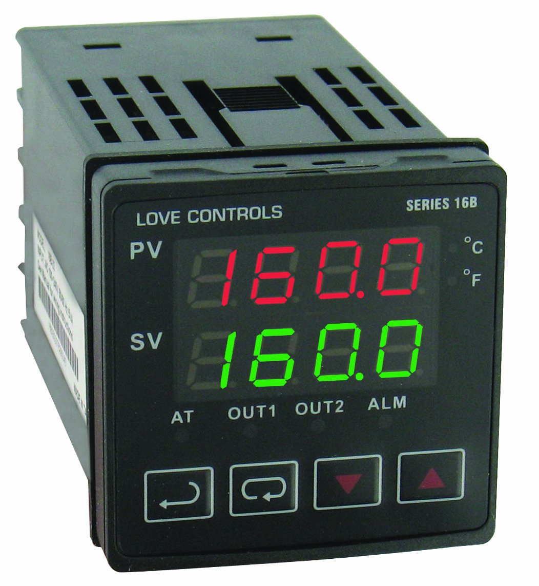 Dwyer Love Series 16B 1/16 DIN Temperature and Process Controller, Relay Outputs 1 and 2