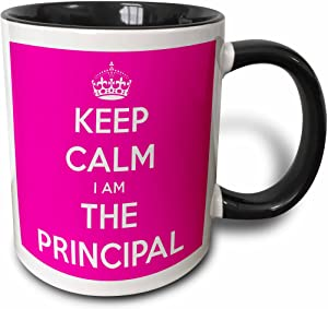 3dRose Keep Calm I Am The Principal Mug, 11oz, Black/Pink