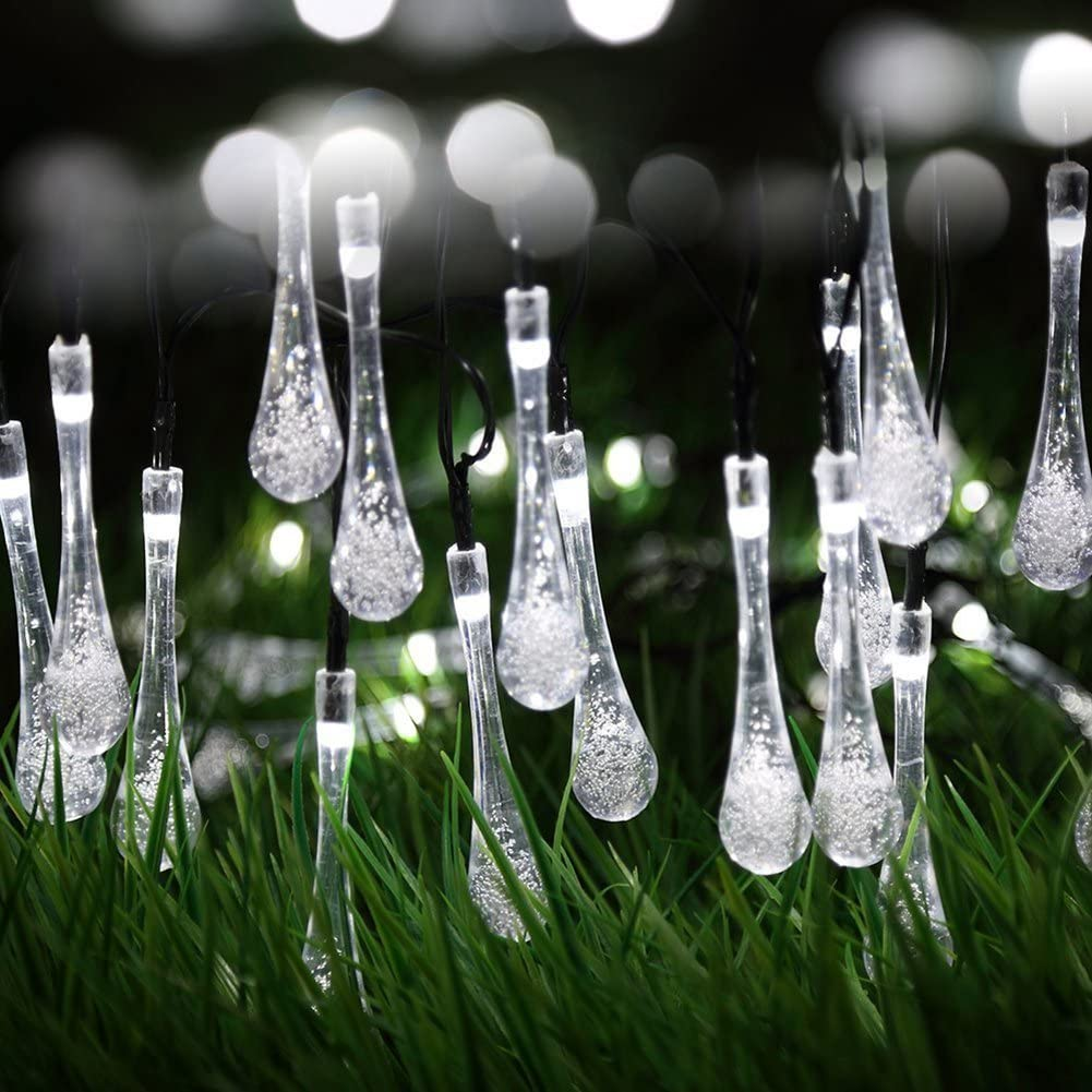 Berocia Solar String Lights Outdoor Waterproof Decorative White Camping Rope Lights Weatherproof for Outside Patio Garden Yard Bedroom 20ft 30 LED 8 Modes Water Drop