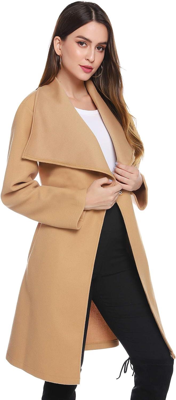 iClosam Cappotto Lungo da Donna Singolo Petto in Lana Doppio Petto Trench Giacche Invernali Outerwear