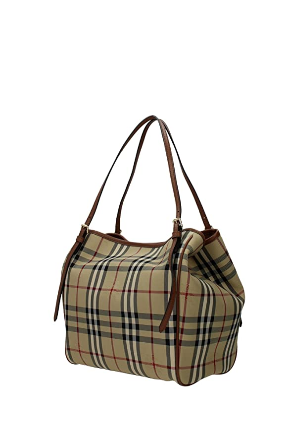 a7597bd44aa1 Amazon.com  Burberry Women s  Small Canter  Horseferry Check Tote Bag with  Equestrian Saddle Straps Honey Tan  Clothing