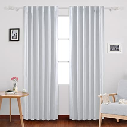 Deconovo Solid Back Tab Curtains Blackout Thermal Insulated Drapes And Room Darkening For