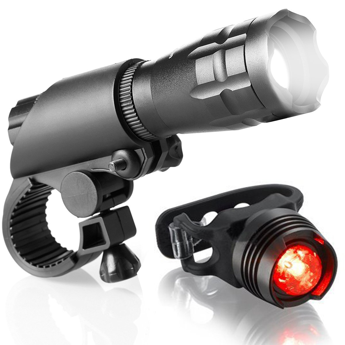 ThreeMay Bike Light Set Powerful Bright LED Front Lights Free Tail Light Easy to Install for Kids Men Women Road Cycling Safety Flashlight Bicycle Headlight