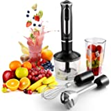 500 Watt 4-in-1 Hand Blender with 8 Speed, Powerful Immersion Handheld Stick Blender Mixer Includes Food Chopper, Stainless Steel Blades, Whisk, and BPA-Free Beaker