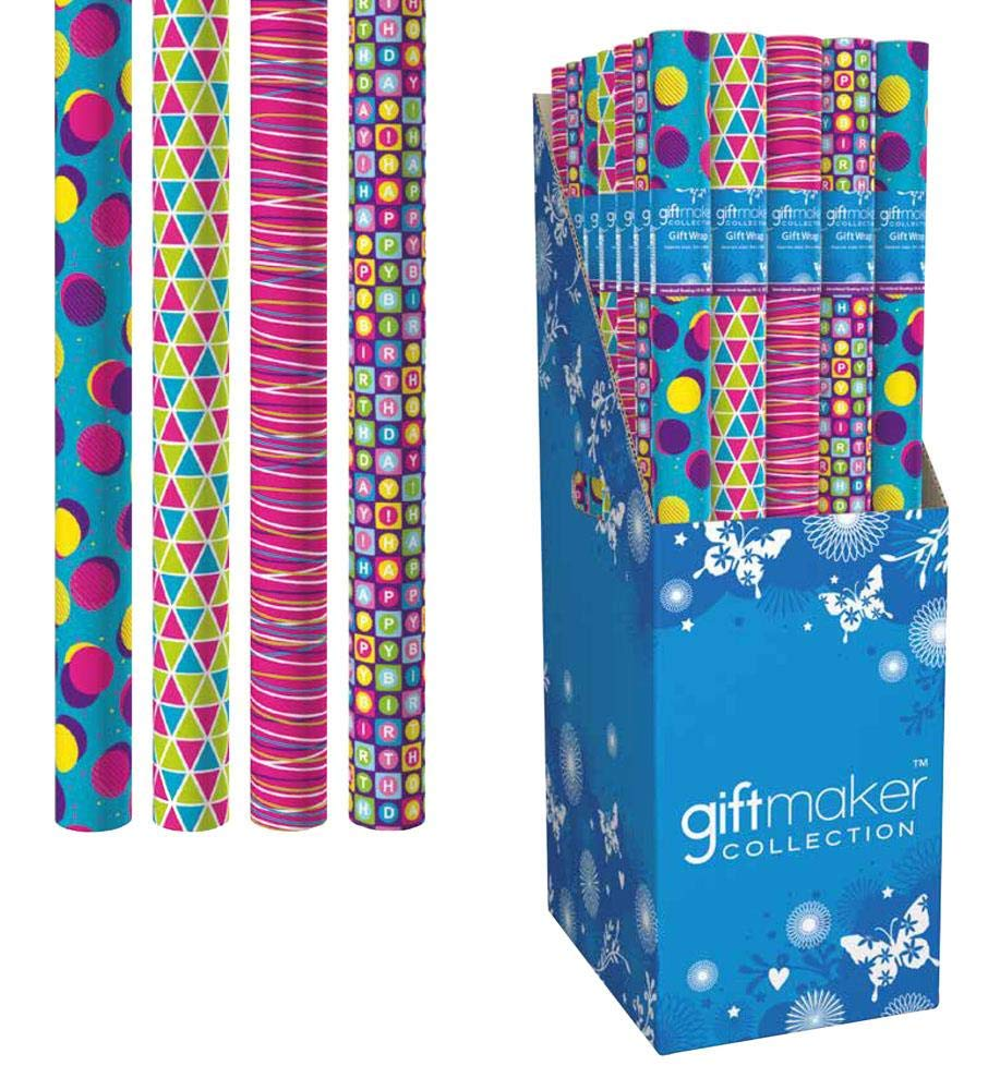 Giftmaker Collection 3m Everyday Gift Wrapping Paper Roll Birthday Celebration - 1 x Randomly Supply Anker Y5GM123F