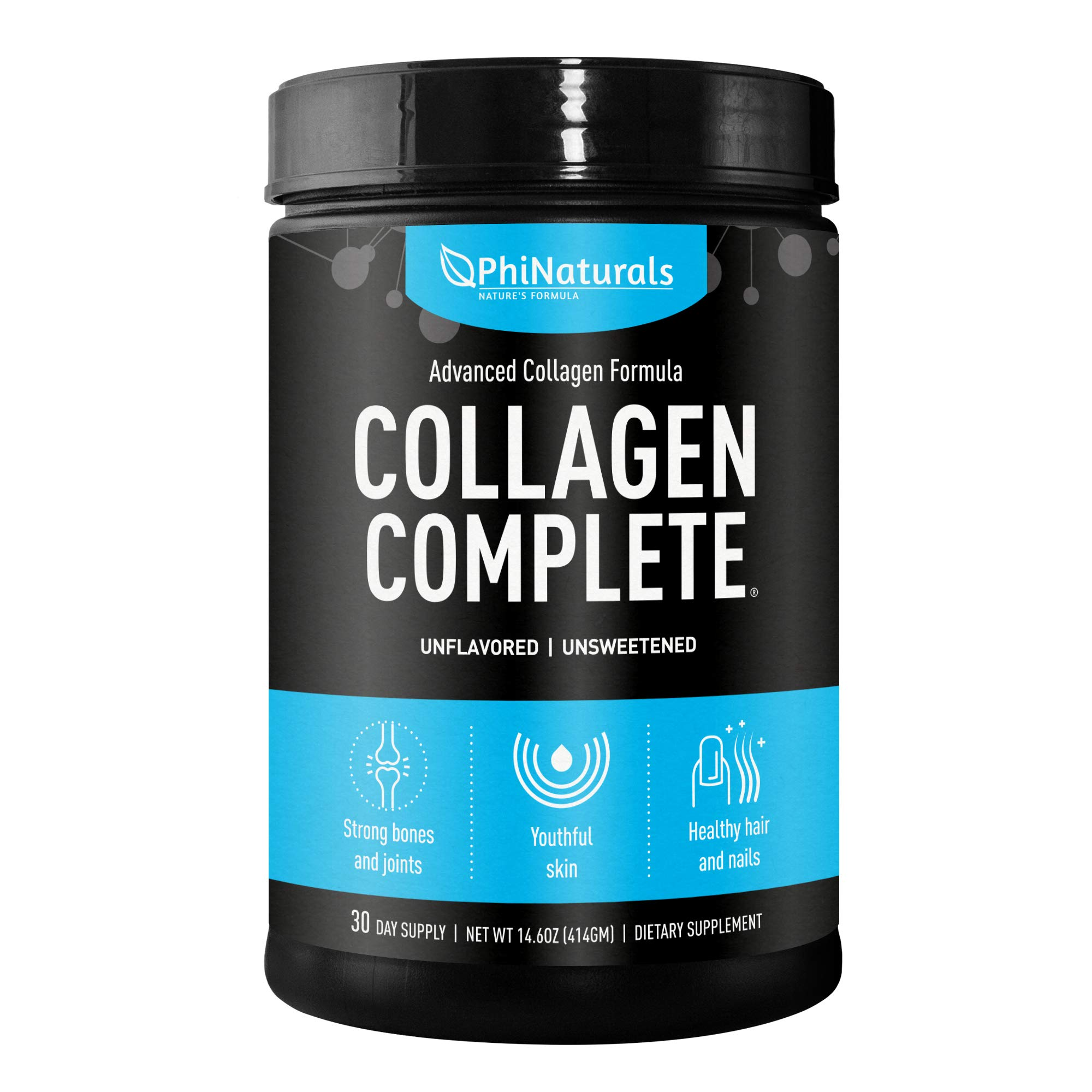 Collagen Complete Hydrolyzed Protein Powder - Anti-Aging Peptides - Organic non-GMO Supplement for Beauty - Skin Joints Hair Nails [Unflavored]