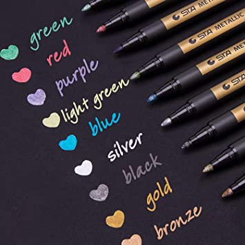 Dyvicl Metallic Markers Paint Marker Pens Medium Point Metallic Permanent Markers For Rock Painting Black Paper Gift Card Making Scrapbooking