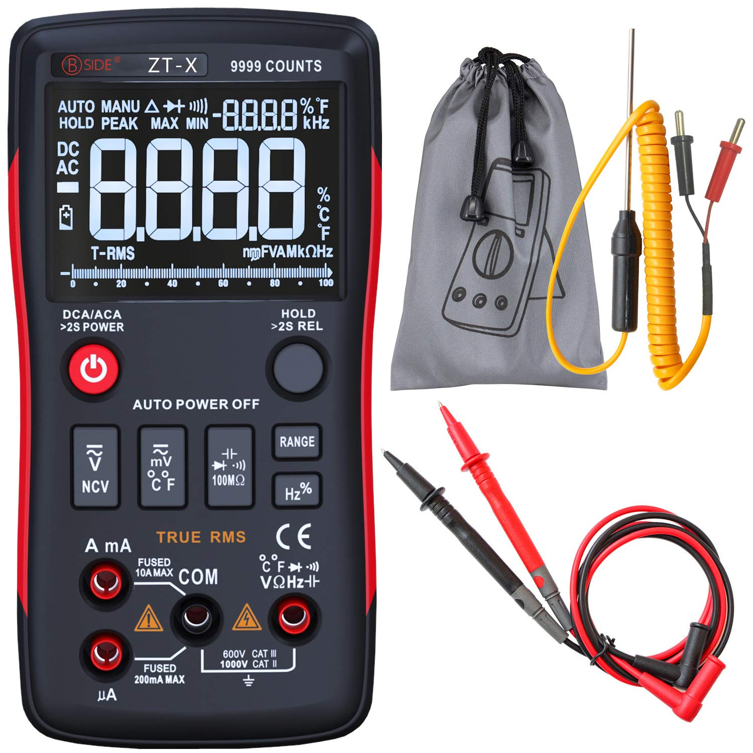 Bside ZT-X True-RMS Digital Multimeter 3-Line Dispaly 9999 Counts Button Design Auto-Ranging DMM Temperature Capacitance AC/DC Voltage Current Multi Meter Tester with Analog Bargraph