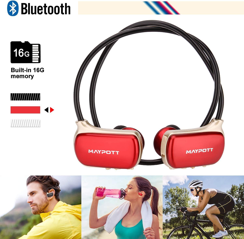 Maypott MP3 Music Player -Wireless Bluetooth Headphone - Stereo Waterproof Bluetooth Earphone Built in 16GB Memory Headset (Red)