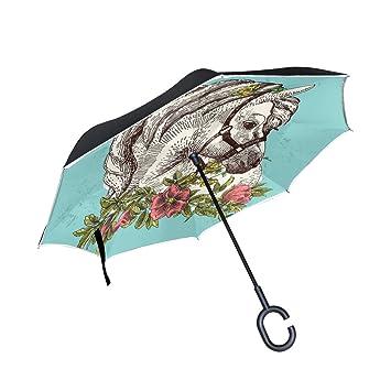 BENNIGIRY - Paraguas de doble capa invertido con diseño de unicornio étnico y protección contra el