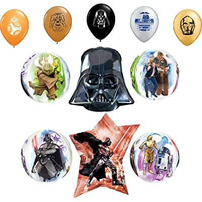 """Star Wars Party Supplies Birthday Orbz Balloon Darth Vader Bouquet Decorations and 11"""" Character Print Latex Balloons: Toys & Games"""