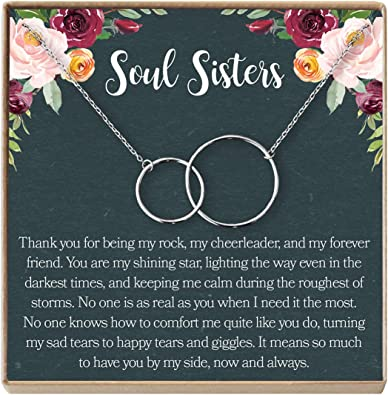 Dear Ava Soul Sisters Gift Necklace: Best Friends 2 Interlocking Circles Friends Forever Long Distance BFF