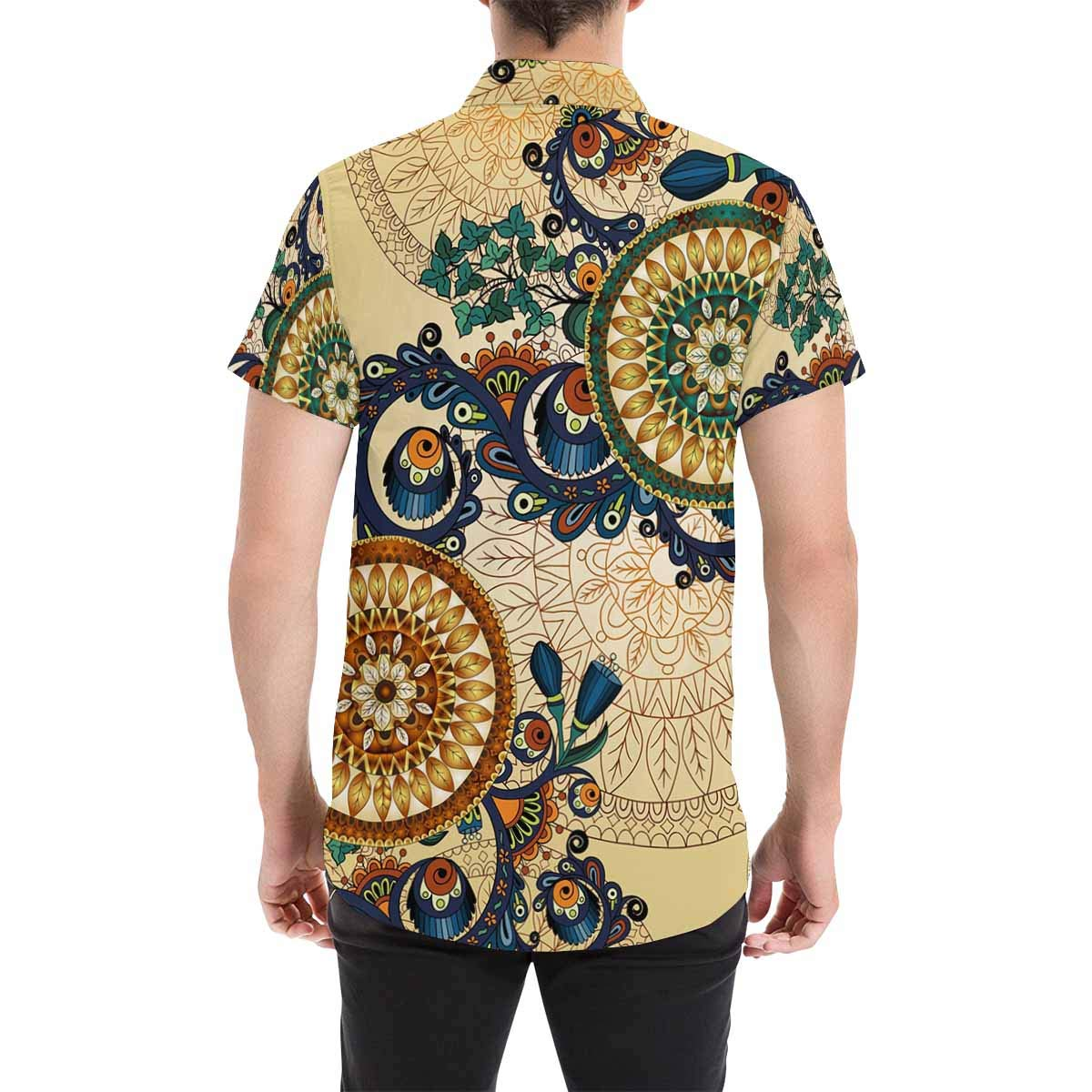 InterestPrint Button Down T Shirts Paisley Floral Lace with Cucumbers Button Down Shirts Short Sleeve