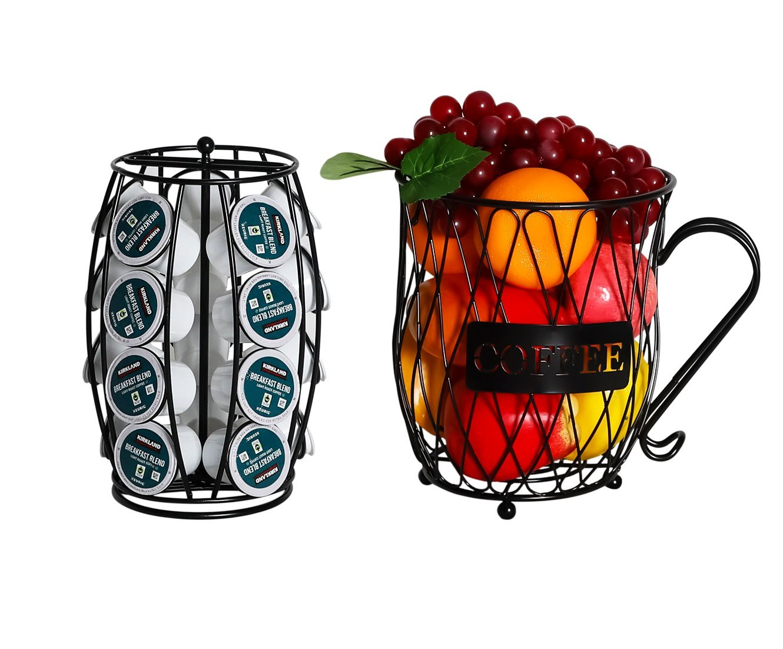 PAG Coffee Pod Holder with Storage and Metal Wire Mug Fruit Basket, Black