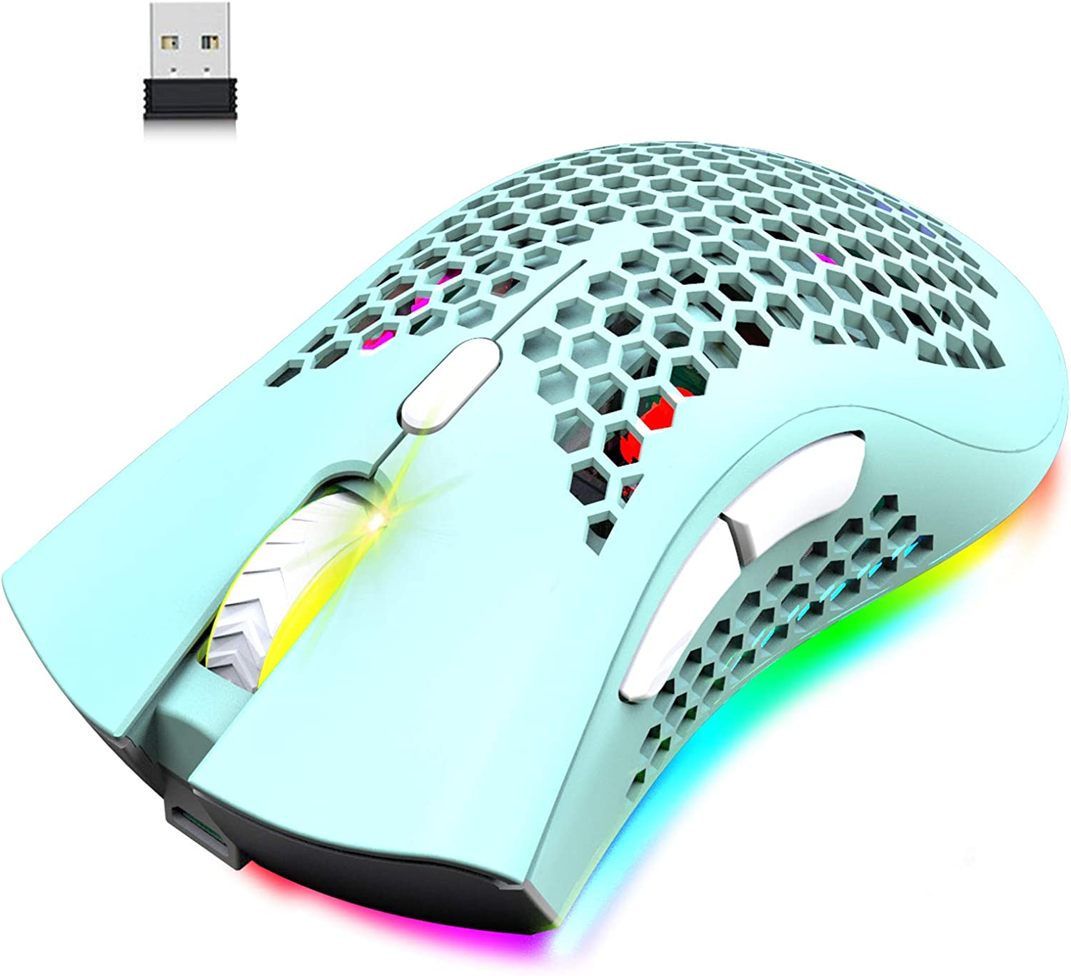 Wireless Lightweight Gaming Mouse Honeycomb with 7 Button Multi RGB Backlit Perforated Ergonomic Shell Optical Sensor Adjustable DPI Rechargeable 800 mAh Battery USB Receiver for PC Mac Gamer(Green)