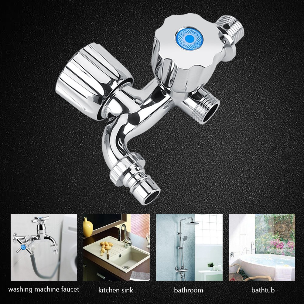 Diamond handle Grifo de agua de doble nivel mezclador monomando de doble boquilla G1//2 para lavadora de fregadero de cocina ducha