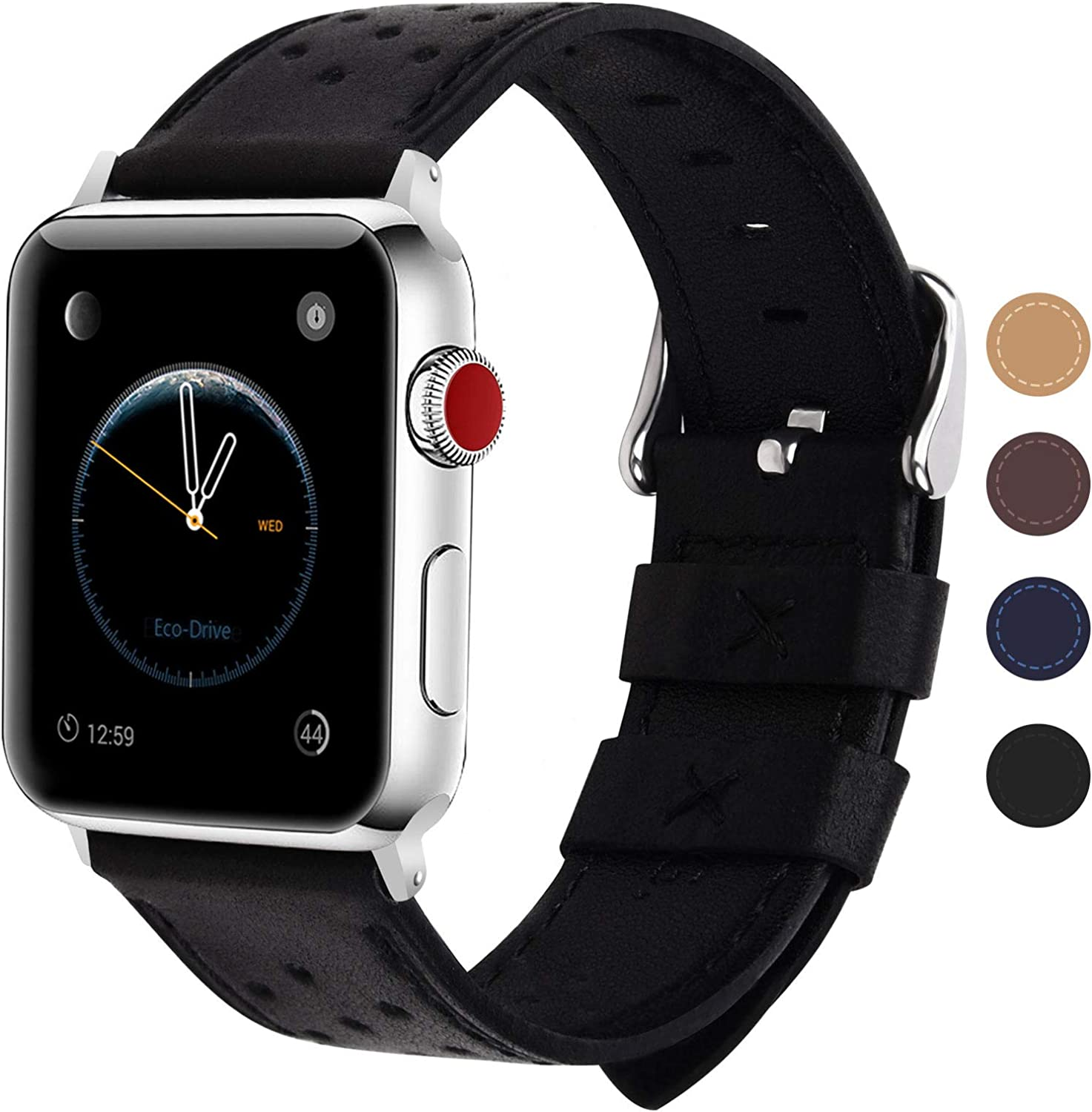 Fullmosa Compatible Apple Watch Band 38mm 40mm 42mm 44mm, Breeze Leather Band Compatible iwatch Series SE, Series 6, Series 5, Series 4, Series 3,Series 2, Series 1,38mm 40mm Black