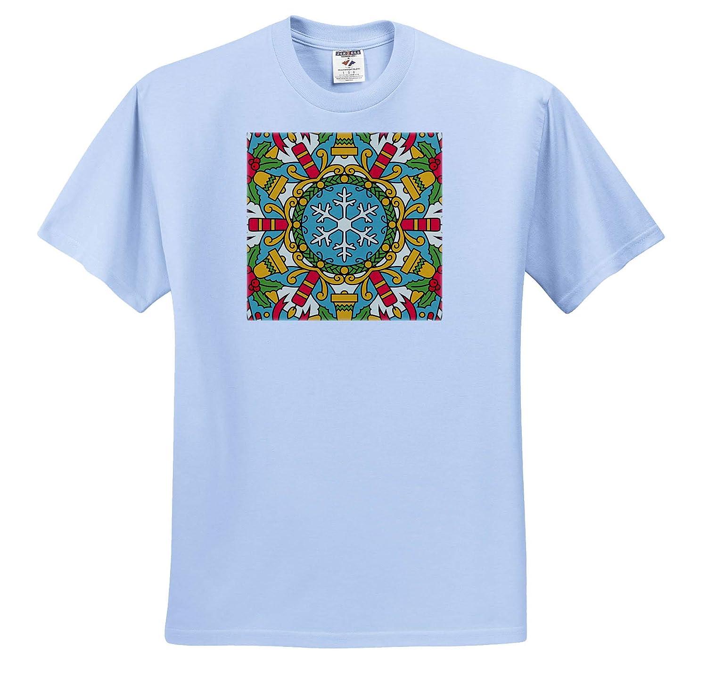 3dRose Alexis Design Mandala Background Winter Season Colorful Mandala Background T-Shirts Cheerful Holiday Decor