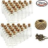 Goodlucky365 50pz Piccole Bottiglie 5ml Mini di Vetro con Tappi di Sughero, 50pz viti a occhiello & Spago 30 Metri