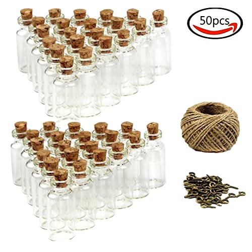 Goodlucky365 (50pcs) 5 ml Mini Botellas de Cristal Con Tapón de Corcho Pequeñas Botellas