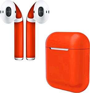 APSkins Silicone Case and Stylish Skins Compatible with Apple AirPod Accessories (Orange Case & Skin)