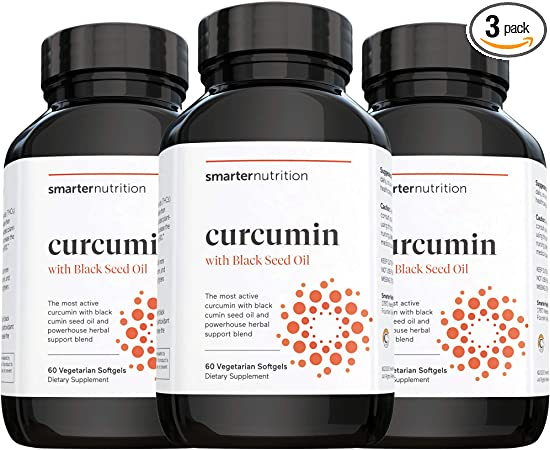 Smarter Nutrition Curcumin - Potency and Absorption in a SoftGel   The Most Active Form of Curcuminoid   95% Tetra-Hydro Curcuminoids, 3 pack of 60 capsules - 90 Servings