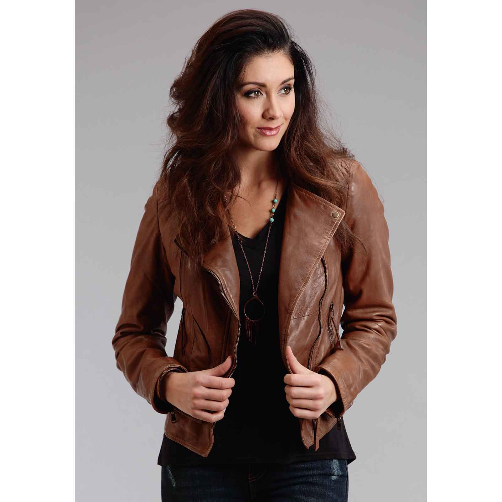 Motto Style Leather Jacket Stetson Ladies Collection-oute (xl) 11-098-0539-6661BR by Stetson