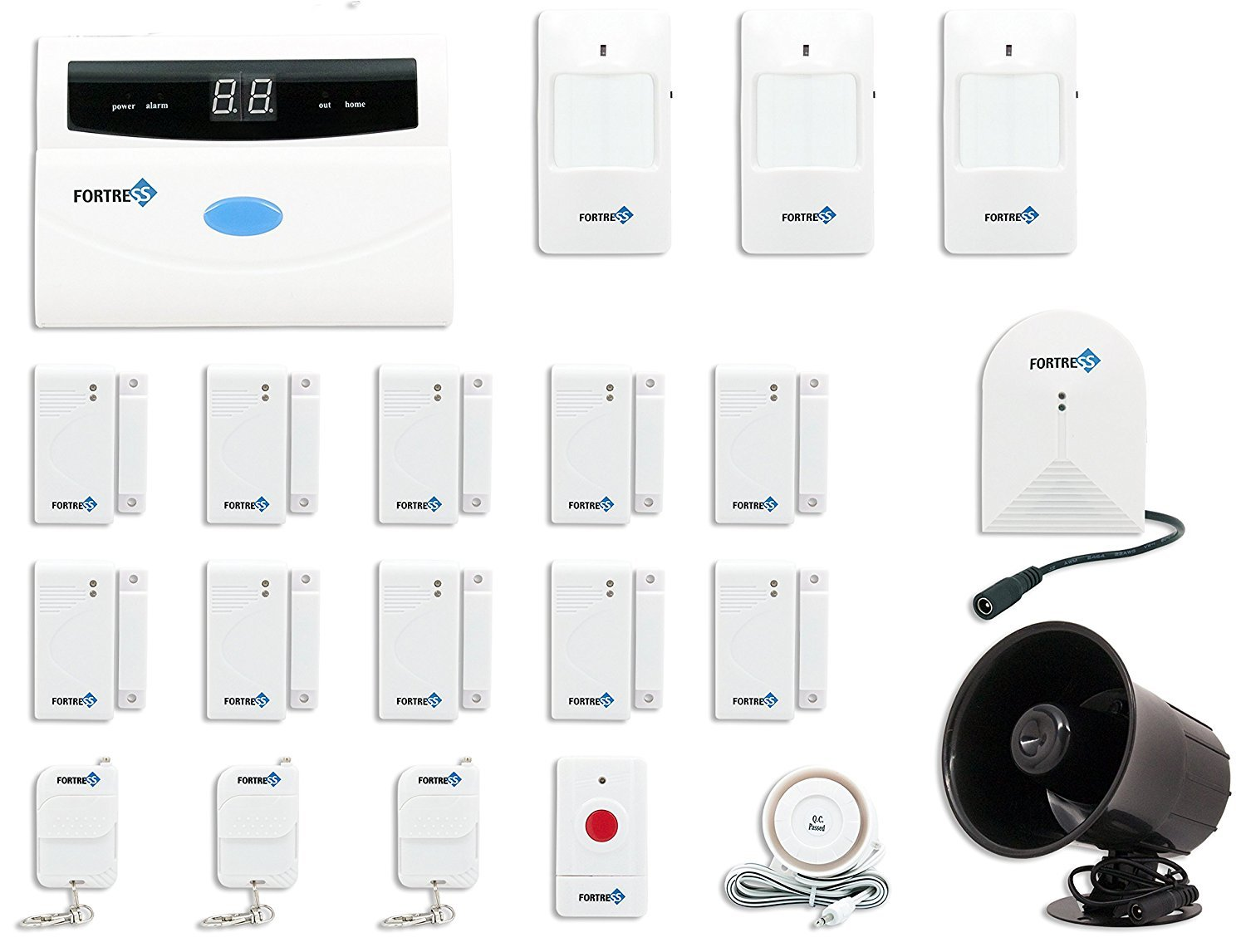 Fortress Security Store S02-E Wireless Home Security Alarm System DIY Kit with Auto Dial + Outdoor Siren, Glass Sensor & More for Complete Business and Home Security