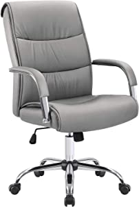 Furmax High Back Office Executive Chair Conference Leather Desk with Padded Armrests,Adjustable Ergonomic Swivel Task Chair with Lumbar Support (Grey)